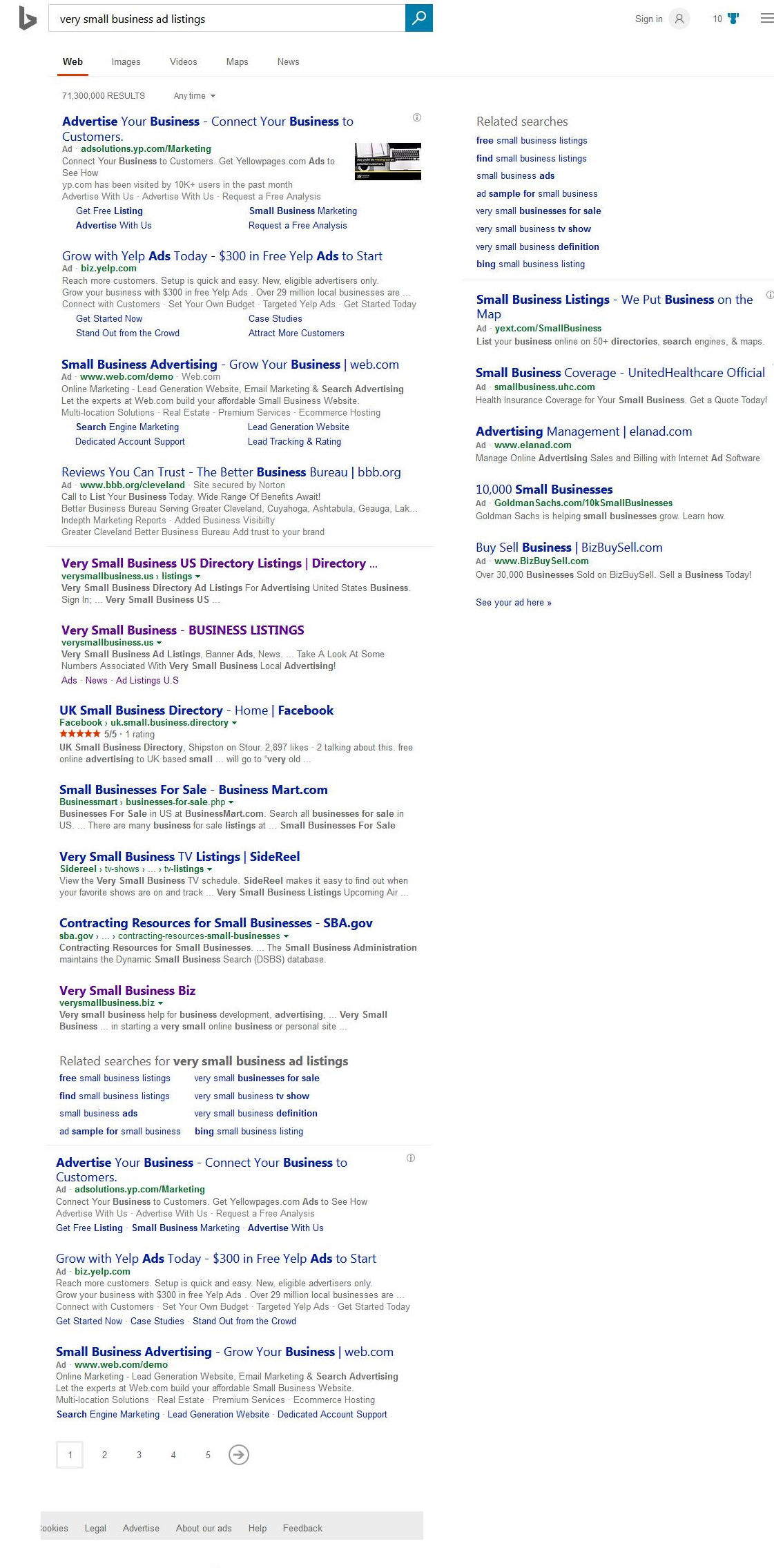 very small business ad listings search result from Bing 05142017